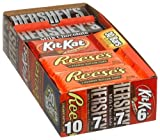 Hershey's 4-Flavor Variety Pack (Kit Kat, Reese's Peanut Butter Cups, Hershey's Milk Chocolate & Chocolate with Almonds), 30-Count Bars
