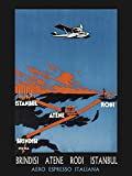 Istanbul Turkey to Athens Greece by Airplane Travel Tourism Vintage Poster Repro 12
