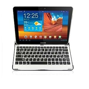 Sharon - Étui/boîtier en aluminium pour Samsung Galaxy Tab 10.1 10.1N P7500 P7501 P7510 P7511 P5100 P5110 et Samsung Galaxy Tab 2 10.1 avec clavier Bluetooth intégré (AZERTY - mise en page en français non compatible Samsung Galaxy Note 10.1)