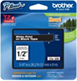"Brother P-touch ~1/2"" (0.47"") White on Black Standard Laminated Tape - 26.2 ft. (8m)"