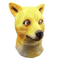 MissFox Halloween Adult Funny Doge Dog Animal Head Mask