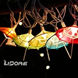 LIDORE Set of 10 Multi-color Umbrella shaped Oriental Style String Lights Set. Best ambient ornament.