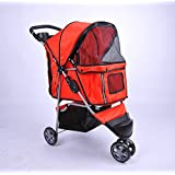 PawHut Folding Dog Pet Cat Stroller Carrier Carrying Cart with Brake and Canopy Red