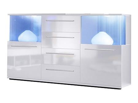 trendteam PU Sideboard Kommode Wohnzimmerschrank | Weiß Glanz | 141 x 40 cm | Inkl. LED Beleuchtung
