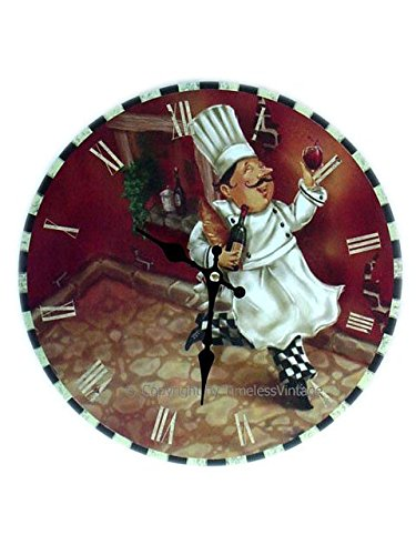Wood Fat French Chef Clock Cafe Wall Bistro Kitchen Wine Decor