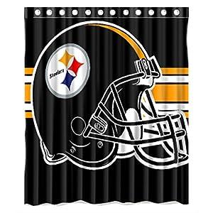 Custom NFL Pittsburgh Steelers Polyester Bathroom Waterproof Shower Curtain at Steeler Mania