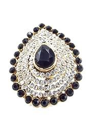 Aria Party Wear Black Kundan CZ Gold Plated Adjustable Finger Ring Fr257