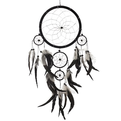 Dream Catcher ~ Handmade Traditional Black, White & Silver 8