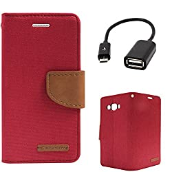 DMG Premium Canvas Diary Wallet Folio Book Cover for Samsung Galaxy A8 (Red) + USB OTG