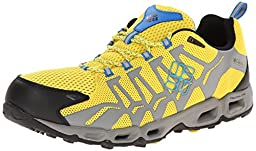 Columbia Men\'s Ventrailia Trail Shoe,Laser Lemon/Hyper Blue,9 D US