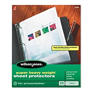 Wilson Jones Super Heavy Weight Sheet Protector, Non-Glare Finish, Letter Size, 25 Sleeves per Box, Clear (W21403)