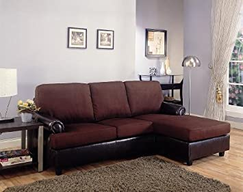 Inland Empire Furniture Paavo Brown Microfiber & Faux Leather Sofa Sectional
