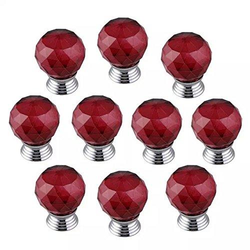 DECOOL (TM) Rot 10PCS*1.6″ Round Crystal Türgriff Möbel-Handgriff Türgriff Möbelknopf Handle Pull Für Schrank / Schrank romantische Hauptdekoration online bestellen