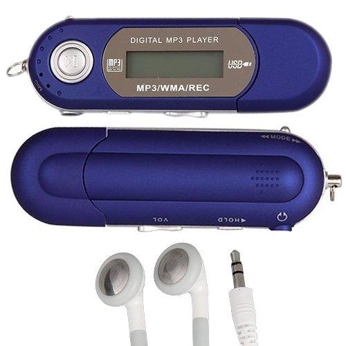 LETTORE MP3 4GB FM RADIO REGISTRATORE BLU + AURICOLARI
