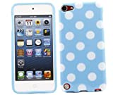 ITALKonline ProGel BLUE WHITE POLKA DOT Super Hydro Gel TPU Protective Armour/Case/Skin/Cover/Shell for Apple iPod Touch 5 5G (5th Generation) 8GB, 32GB, 64GB - Solid Black