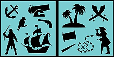Auto Vynamics - STENCIL-PIRATESET01-10 - Detailed Classic Pirates amp Pirating Stencil Set - Include