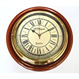 Vintage Style Antique Look Newgate Brown Wood And Brass Wall Clock 12 Inches Dia