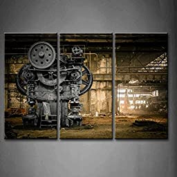 Modern Home Decoration painting 3 Panel Wall Art Metallurgical Firm Waiting For A Demolition Machine Old Factory Pictures Print On Canvas Architecture The Picture piece