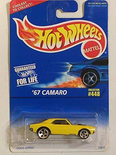 Hot Wheels - '67 Camaro (Chevrolet) - Collector #448 - Yellow Body Color - 5 Hole Wheels - Malaysia