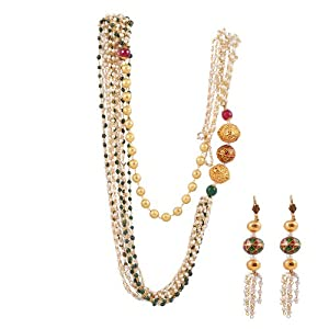 Ashiana Stunning Multi Strand Pearl And Semi Precious Stones Chain Set available at Amazon for Rs.4998