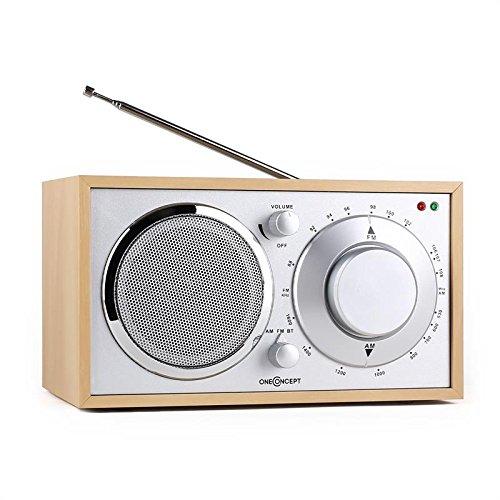oneConcept Lausanne Bluetooth Küchenradio Holz Radio (UKW-Tuner, AUX, Teleskopantenne, Netz-betrieb, Retro-Look) eiche