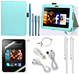 The Friendly Swede (TM) PU Leather Case Cover Bundle for Kindle Fire HD 7 Inch in Retail Packaging (NOT Compatible With Kindle Fire HD 7 2013 Release) (Light Blue)
