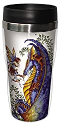 Tree-Free Greetings sg23544 Fantasy Curiosity Dragon and Fairy by Amy Brown, Sip N Go Stainless Steel Travel Tumbler, 16-Ounce, Multicolored