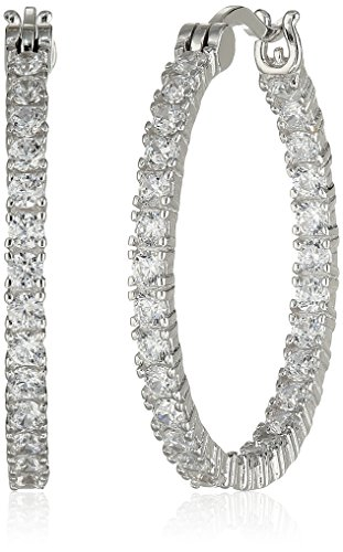 Rhodium Plated Sterling Silver Cubic Zirconia 2Mm Hoop Earrings, 1""