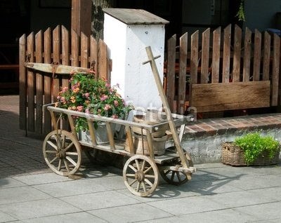 Wallmonkeys Peel and Stick Wall Decals - Decorative Cart, Rustic Style Decoration. Flowers, - 18