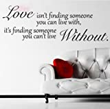 Wall Sticker Decal Hanging Mural Self Adhesive Paper Art Deco (Love Without Quote Sticker)