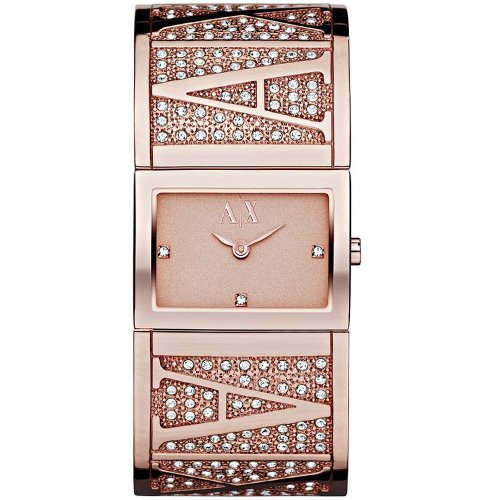 Armani Exchange AX4114 Women's Rose Gold Tone Dial Rose Gold Stainless Steel Crystal Accents Bracelet Watch
