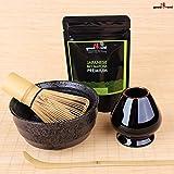 Set di Tè Matcha Completo: 30g Tè Matcha in polvere da agricoltura biologica + Tazza per Tè Matcha + Frullino di bambù con Porta Chasen e Cucchiaio di bambù