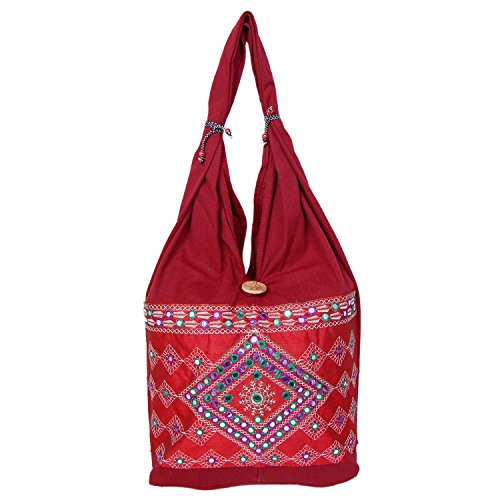 Womaniya Handicraft Jhola Canvas handbag for Women Girls Men Boys  available at amazon for Rs.159