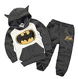Children's Outfits Tracksuit Batman Hoodies Sport Clothing Set (100/18-24Months, Gray)