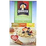 Quaker Instant Oatmeal Weight Control, Flavor Variety Pack, 8-Count Boxes (Pack of 4) ~ Quaker