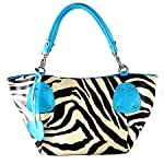 New Blue Large Vicky Zebra Print Faux Leather