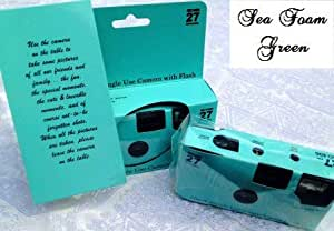 10 Pack of Plain Seafoam Green Disposable 35mm Cameras for Wedding or Any Party, 27exposures, Perfect favor or gift