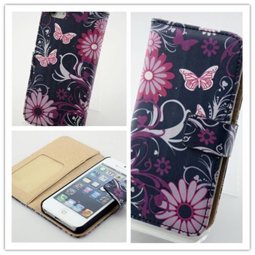 Big Dragonfly ( High Quality ) Spring Flowers & Butterfly Slim Folio Flip Leather Case Wallet Cover Protective Shell For Apple Iphone 5 With Magnet Button & Id Card Slots Box Package Rustic Color front-696703