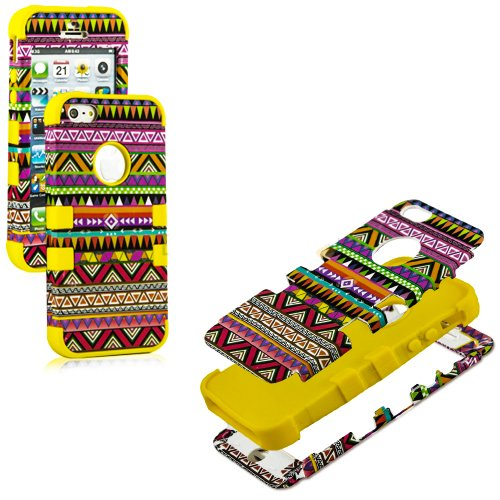 Mylife (Tm) Sun Yellow - Colorful Tribal Print Series (Neo Hypergrip Flex Gel) 3 Piece Case For Iphone 5/5S (5G) 5Th Generation Itouch Smartphone By Apple (External 2 Piece Fitted On Hard Rubberized Plates + Internal Soft Silicone Easy Grip Bumper Gel)