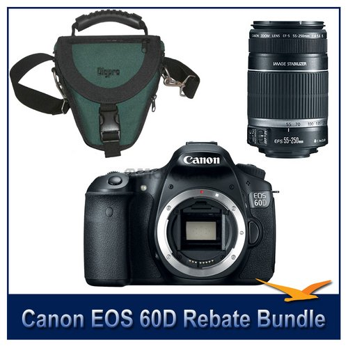 Canon EOS 60D 18 Megapixel SLR Digital Camera with a $200 Instant Rebate Bundle. Includes Camera Body, Canon's EF-S 55-250mm f/4-5.6 IS (Stabilized) Lens with Canon USA Warranty, and a Deluxe SLR Holster Case. Save Up To 500.00 with Canon Printer Rebate
