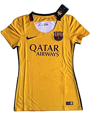 Women's FC Barcelona 2015-2016 Away Soccer Jersey Yellow