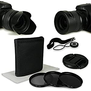 52mm Accessory Kit for Canon EOS M - Nikon D40 | D60 | D3000 | D3200 | D3300 | D5000 | D5200 - Panasonic Lumix DMC-G1 | DMC-G2 | DMC-G3 | DMC-G5 | DMC-G6 | DMC-G10 | DMC-GF1 | DMC-GF2 | DMC-GF3 - Pentax K01 | K100D | K10D | K200D | K20D | K30 | K5 IIs | K50 | K500 | K7 | Km | Kr | Kx - Samsung GX-1L - Fuji X20 | X-Pro1 - Olympus OMD EM1 | EM5 etc... incl. Filter Kit with Pouch (ND2 + ND4 + ND8) + Microfiber Lens Cleaning Cloth + Tulip Lens Hood reversible + Center Pinch Lens Cap