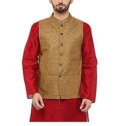 Yepme Men's Gold Blended Nehru Jackets - YPMNJKT0032_L