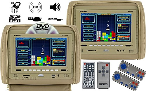 "Evervox Ev-910Hdg/912H Beige 9"" Dual Headrest Monitor With Dvd Player, Usb And Built-In Ir/Fm Transmitter"