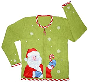 Ugly Christmas Sweater - Candy Cane Santa Cardigan by Skedouche