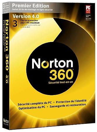 Norton 360 Premier Edition version 4.0 + 25 go d'espace en ligne (3 postes/ 1 an)
