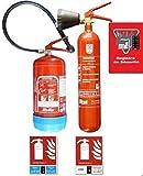 Kit lot extincteurs Co2 kg + eau 6 litres additif + registre + 2 panneaux...