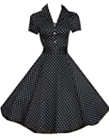 Pretty Kitty Fashion 50s Black White Polka Dot Swing Tea Dress - NOW AVAILABLE UP TO SIZE 26!!!