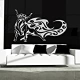 Tribal Bull Wall Sticker Animal Wall Decal Art available in 5 Sizes and 25 Colours X-Large Strawberry Red