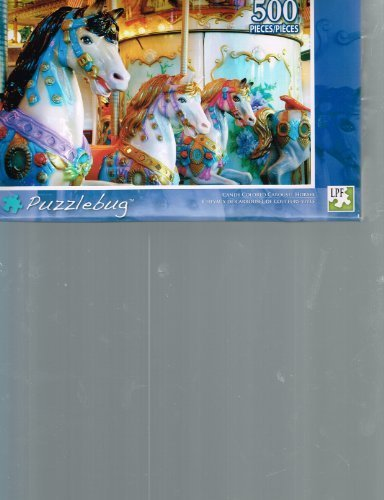 Puzzlebug Candy Colored Carousel Horses 500 Pc Puzzle by LPF by LPF